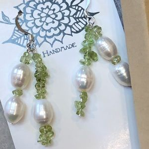 Casey Keith Design Jewelry - Rock candy peridot and freshwater pearl Earrings